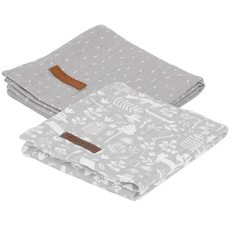 set 2 swaddles grey adventure little dutch